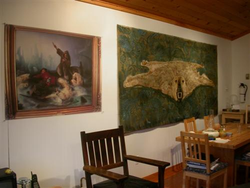 polar bear and ptg.jpg - Flying Bear Installed with Biard painting, 2012